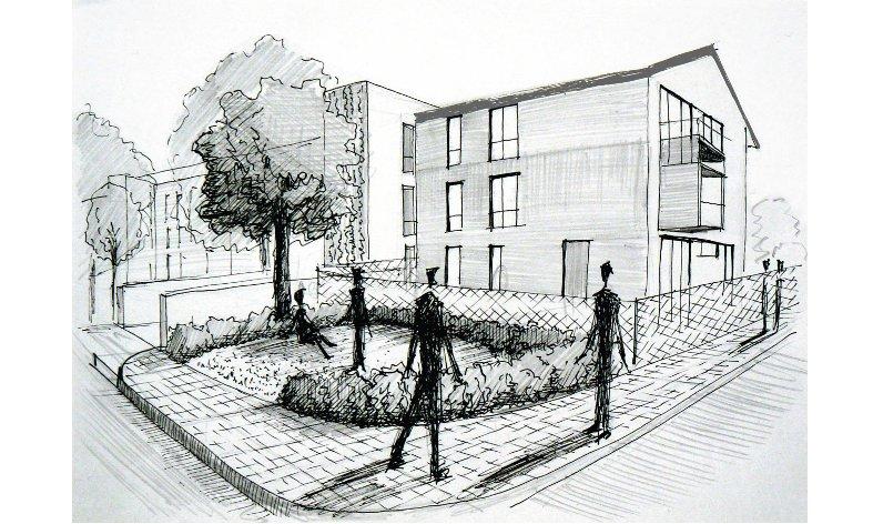 vizualizace kompoziční studie zeleně u bytového domu