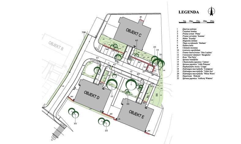 osazovací plán zeleně u bytového domu