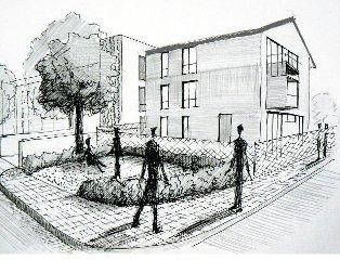 veřejná zeleň u bytového domu v Praze Kolovratech